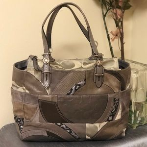 Authentic Coach Patchwork Suede Tote Gray
